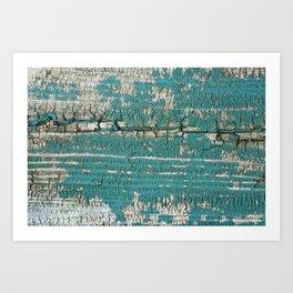 Rustic Wood Turquiose Paint Weathered Art Print