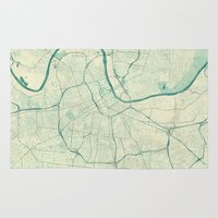 nashville Area & Throw Rugs featuring Nashville Map Blue Vintage by City Art Posters