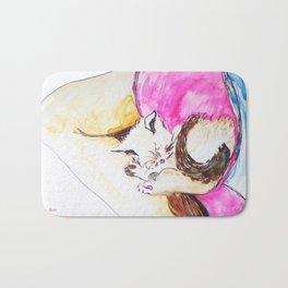 July kitty in Rachael's Lap watercolor by CheyAnne Sexton Bath Mat