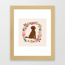golden doodle dog floral wreath dog gifts pet portraits Framed Art Print