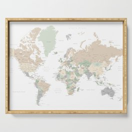 """World map with cities, """"Anouk"""" Serving Tray"""