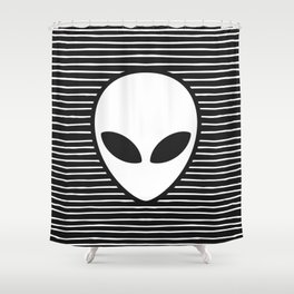 Alien on Black and White stripes Shower Curtain