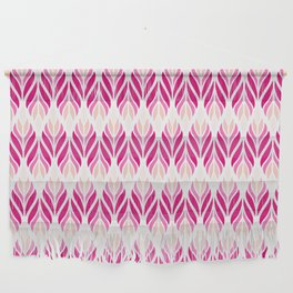 Hot Pink and White Leaves Pattern Wall Hanging