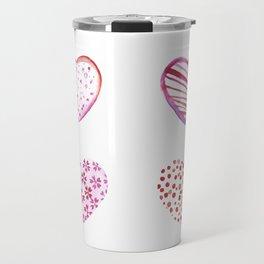 Watercolor Pink Hearts Travel Mug