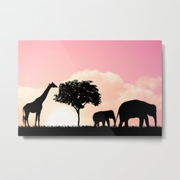 Nature background with elephants and giraffe Metal Print