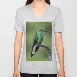 Green-crowned brilliant Hummingbird with open mouth Unisex V-Neck