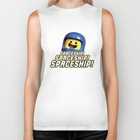 spaceship Biker Tanks featuring Spaceship! by D-fens