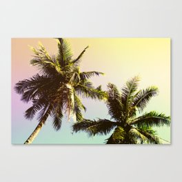 Yellow Blue Tropical Sky with Coco Palm Trees Canvas Print