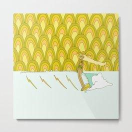 retro rainbow daydreams lady slide // retro surf art by surfy birdy Metal Print