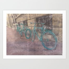 Three Bikes Art Print