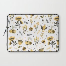 Bees and ladybugs. Gold and black Laptop Sleeve