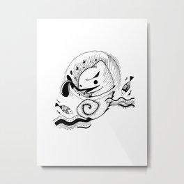 Fishing Chameleon Metal Print