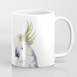 White and yellow watercolor cockatoo portrait Coffee Mug