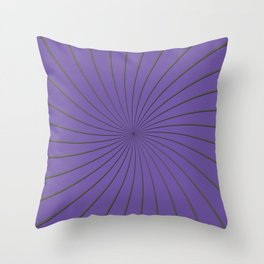 3D Purple and Gray Thin Striped Circle Pinwheel Digital Graphic Design Throw Pillow