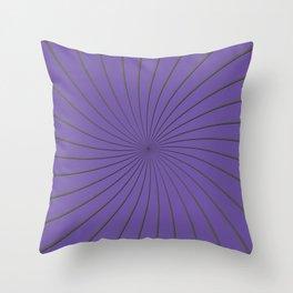 3D Purple and Gray Thin Striped Circle Pinwheel Digital Graphic Design Throw Pillow