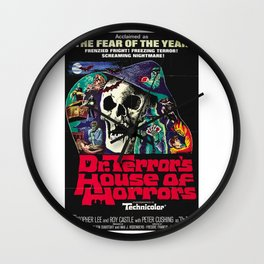 House of Horrors, doctor Terrors, vintage horror movie poster Wall Clock