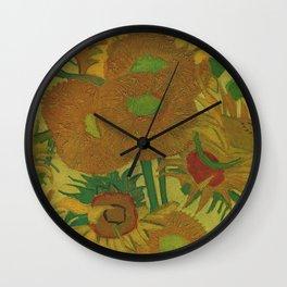 Van Gogh, sunflowers 2 – Van Gogh,Vincent Van Gogh,impressionist,post-impressionism,brushwork,paint Wall Clock