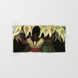 1941 Classical Masterpiece Calla lily 'Flower Seller' by Diego Rivera Hand & Bath Towel