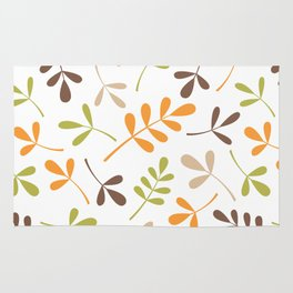 Assorted Leaf Silhouettes Retro Colors Rug