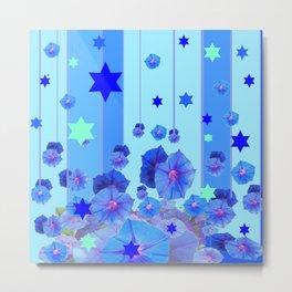 STARS & BLUE MORNING GLORIES RAIN POP ART Metal Print