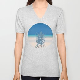 Pineapple Tropical Beach Design Unisex V-Neck