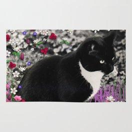 Freckles in Flowers II - Tuxedo Kitty Cat Rug