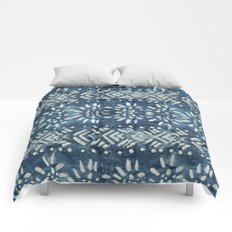 Vintage indigo inspired  flowers and lines Comforters