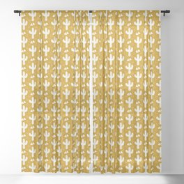 Mustard Gold Cacti Sheer Curtain