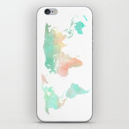 Watercolor World Map  iPhone Skin