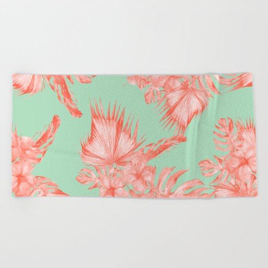 Dreaming of Hawaii Coral Pink + Pastel Green Beach Towel