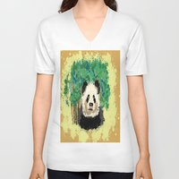 splatter V-neck T-shirts featuring Splatter Panda by grapeloverarts