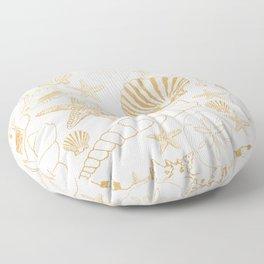 Gold Sea Shells on white Floor Pillow