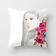 Face&flowers Throw Pillow
