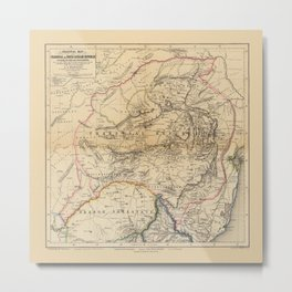 Map Of South Africa 1875 Metal Print