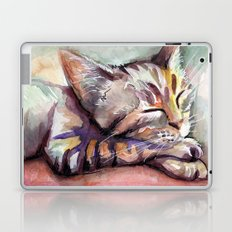 Sleeping Kitten Watercolor Cat Whimsical Cats Laptop & iPad Skin