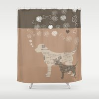labrador Shower Curtains featuring Labrador dogs by My Studio