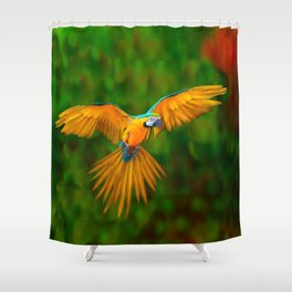 Flying Golden Blue Macaw Parrot Green  Art Shower Curtain