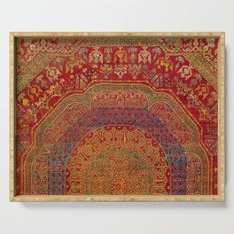 Bohemian Medallion VI // 15th Century Old Distressed Red Green Blue Coloful Ornate Rug Pattern Serving Tray