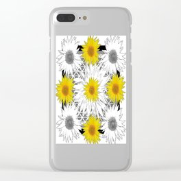 Decorative B&W Yellow-White Sunflowers Clear iPhone Case