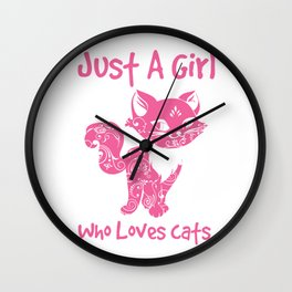 Just A Girl Who Loves Cats Wall Clock
