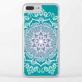 Baesic Turquoise Tranquil Mandala Clear iPhone Case