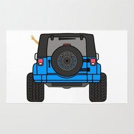 Jeep Wave Back View - Blue Jeep Rug