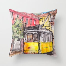 Yellow tram in Lisbon ink & watercolor illustration Throw Pillow