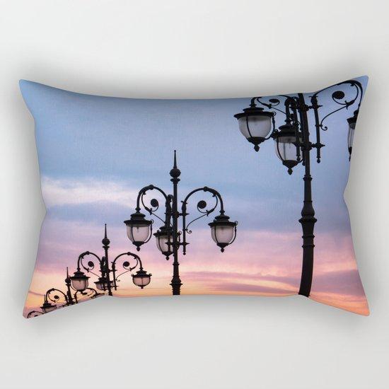city lights in the evening sky Rectangular Pillow