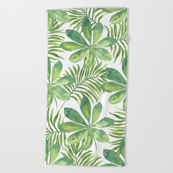 Tropical Branches Pattern 01 Beach Towel