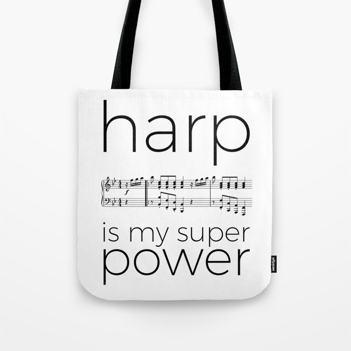 Harp is my super power (3) (white) Tote Bag
