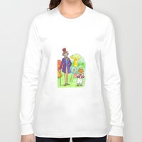 willy wonka Long Sleeve T-shirts featuring Pure Imagination: Willy Wonka & Oompa Loompa by Michael Richey White by lost robot