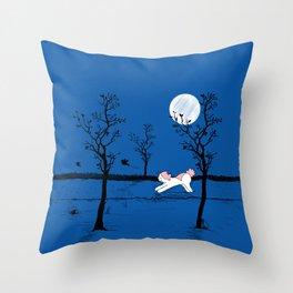 Mina Pompon at night Throw Pillow