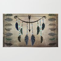 green arrow Area & Throw Rugs featuring Bow, Arrow, and Feathers by naturessol