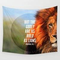 lions Wall Tapestries featuring BOLD AS LIONS by Pocket Fuel